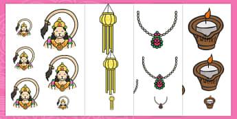 Diwali Themed Size Ordering - diwali, size ordering, size ordering activity, size and shape, size, shape, diwali themed worksheet, themed size ordering