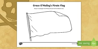 Grace O'Malley Pirate Flag Activity Sheet - Grace O'Malley, The Pirate Queen, Gráinne Mhaol,SESE. irish History, Ireland,Irish, Worksheet