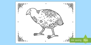 Takahe Mindfulness Colouring Page - New Zealand Mindfulness, NZ birds, colouring, takahe, colour bird, pattern bird