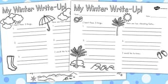 Winter Write Up Worksheet Temperate - writing aid, seasons