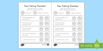 Peer Editing Checklist Activity Sheet - Peer Editing, Common Core, ELA, Writing, Grammar, worksheet