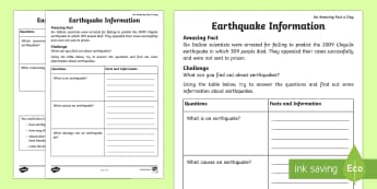 Earthquake Information Activity Sheet - Amazing Fact Of The Day, activity sheets, powerpoint, starter, morning activity, February, earthquak