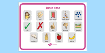 Lunchtime Communication Board - ASD, autism, early years, low functioning, PECS, communication board, functional communication