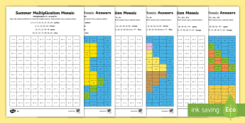 LKS2 Summer Multiplication Mosaics Differentiated Activity Sheets - LKS2, multiplication, times tables, ks2 numeracy, lks2 numeracy, lks2 times tables, lower key stage