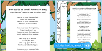 Here We Go on Elmer's Adventures Song - Elmer, David McKee, colour, patchwork, elephant, wilbur, song, singing, songtime