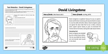 David Livingstone Text Detective - david livingstone, text detective, text, detective, fact, writing, activity
