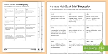 Herman Melville: A Biography Differentiated Activity Sheets - pre 1914, literature, prose, novel study, Moby Dick, author, biography