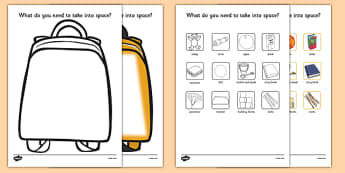 Space Backpack Activity to Support Teaching on Whatever Next! - EYFS, early years, Space, planets, aliens, the moon, rockets, spaceships, backpack, space bag, activities
