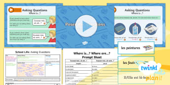 PlanIt - French Year 5 - School Life Lesson 6: Asking Questions 2 Lesson Pack - french, languages, grammar, objects, prepositions, school, subjects, lessons, questions, school life