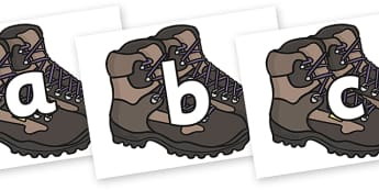 A-Z on Walking Boots - a-z, alphabet, display alphabet, walking boots, alphabet on walking boots, a to z on walking boots, shoes, boots, literacy