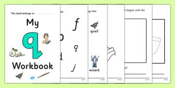 My Workbook q lowercase - workbook, q sound, lowercase, letters, alphabet, activity, handwriting, writing