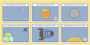 Space Playdough Mats - Space, Playdough, mat, moon, sun, earth, mars, ship, rocket, alien, launch, stars, planet, planets