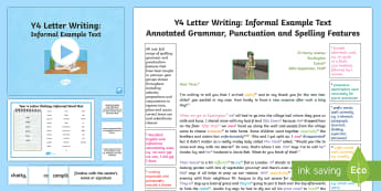 Year 4 Letter Writing: Informal Model/Example Text - Example Texts Y4, Year 4, genre, WAGOLL, exemplar, non-fiction, text, text features, SPaG, GPS, exam