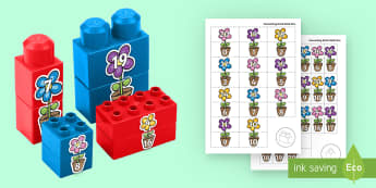 Spring Flowers Number Bonds to 20 Matching Connecting Bricks Game - EYFS Connecting Bricks Resources, Duplo, Lego, plastic bricks, spring, seasons, flowers, Maths, numb