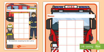 Fireman Sticker Reward Charts - Fireman Sticker Stamp Reward Chart - Stamp Reward Chart, charts, chart, award, well done, reward, me
