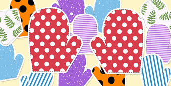 Mitten Matching Activity - mitten, matching, activity, cut outs