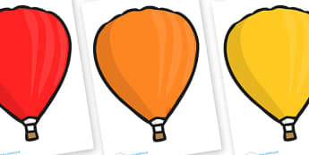 Editable Hot Air Balloons (Plain) - Hot Air balloon, balloons, editable, display balloon, A4