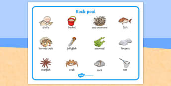 Seaside Rock Pool Word Mat - seaside, beach, seaside word mat, rockpool word mat, rock pool word mat, seaside key words, seaside words, beach words