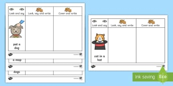 Phase 2 Captions Writing  Activity Sheets - Phase 2, Captions, Writing,  Activity, Sheets, phonics, write, spell, look and say, Worksheets