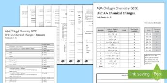 AQA Chemistry Unit 4.4 Chemical Changes Test - KS4 Assessment, Test, gcse, chemistry, chemical change, reactivity series, metals, non-metals, acid