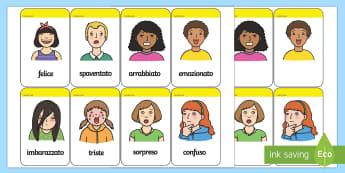 Le Nostre Emozioni Flashcards - le, nostre, emozioni, sentimenti, flashcards, schede, parole, vocaboli, italiano, italian