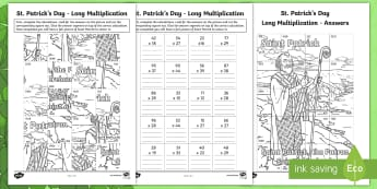St. Patrick's Day Long Multiplication Colouring Activity Sheet - NI St. Patrick's Day Resources KS2, Saint Patrick, Naomh Pádraig, Colouring Page, Colouring Activi