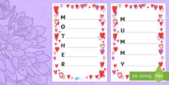 Mother's Day Acrostic Poem Sheets (Hearts) - acrostic poems, acrostic poem, acrostic, mummy, mother, mothers day, mummy acrostic poem, mother acrostic poem, mothers day acrostic poem, poem, poetry, literacy, writing activity, activity