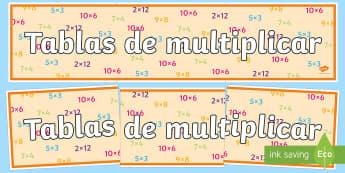 Pancarta: Tablas de multiplicar - pancarta, tablas de multiplicar, multiplicación, multiplicar, mural, murales, exponer, exposición,