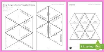 Energy Changes in Reactions Tarsia Triangular Dominoes - Tarsia, gcse, chemistry, endothermic, exothermic, bond energy, activation energy, reaction profile, plenary activity