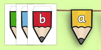 Alphabet on Pencil Bunting - alphabet, pencil, bunting, display