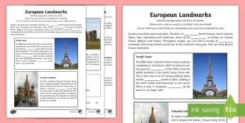 European Landmarks Cloze Activity Sheet - english, cloze test, assessment, geography, eusope, landmarks, comprehension, reading,Irish