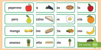 Il Cibo Illustrazioni con Vocaboli - cibo, alimenti, alimentazione, nomi, vocaboli, immagini, parole, italiano, italian