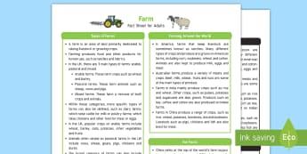 Farm Fact Sheet for Adults - ks1 farm, reception farm, early years farm, adult guidance, farm facts, farming