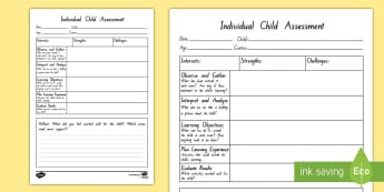 Individual Child Assessment Observation Template - assess, strengths, challenges, support,
