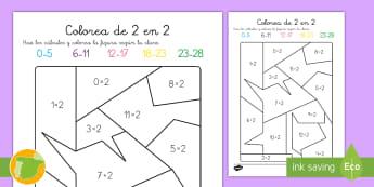 Ficha de actividad: Colorear por cálculos - x2 - tabla de multiplicar, múltiplos, ficha, mates, matemáticas, x2, por dos, multiplicar, multiplicaci