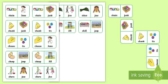 'ch' and 'j' Minimal Pair Dominoes - phonology, minimal pairs, affricates, speech sounds, articulation
