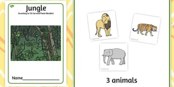 Jungle Counting to 10 Cut and Paste Booklet - counting, jungle
