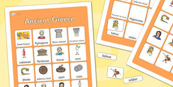 Ancient Greece Vocabulary Matching Mat - ancient greece, vocabulary mat, ancient greece vocabulary, greek vocabulary, greece matching mat