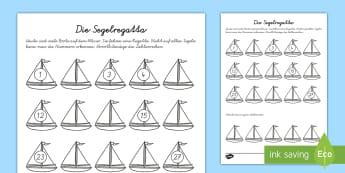 Die Segelregatta Arbeitsblatt: Erstes Zählen - Sommer, Zahlen, zählen, Mathematik, Segelboot, Kindergarten/Kl.1,German