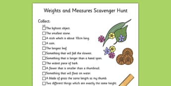 Weights and Measures Scavenger Hunt KS1 - scavenger hunt, ks1