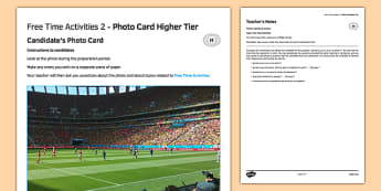 Les loisirs 2 Carte photo Higher Tier - french, Photo, picture, card, higher, free time, activities, leisure, temps, libre, passe-temps, hobbies