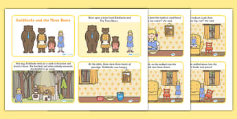 Goldilocks and the Three Bears Story Cards - goldilocks and the three bears, goldilocks and the three bears story sequencing, traditional tales, 3 pigs
