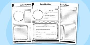 Blank John McAdam Fact File Sheet Differentiated - fact file, blank