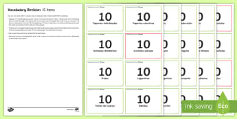 Vocabulary Revision 10 Items Challenge Cards Spanish - Spanish, Vocabulary, topics, revision, 10, items, challenge, cards, game, speaking, pairs,French