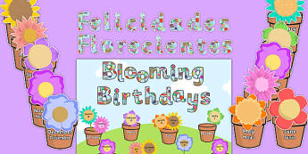 Blooming Birthdays Flower Display Pack Spanish Translation - spanish, birthdays, display, pack