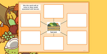 Harvest Pre-Teaching Word Web - harvest, pre-teaching, word web