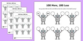 100 More 100 Less Robots Activity Sheet - activity, robot, number, worksheet