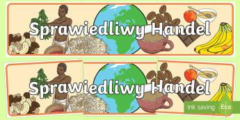 Banner na gazetkę Sprawiedliwy Handel - fairtrade, fair trade, banner, trade, sprawiedliwy, sprawiedliwość, handel, plantacje, banany, kaw