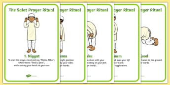 The Salat Prayer Ritual Posters - Religion, faith, muslim, mosque, allah, God, RE, five pillars, mohammad