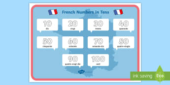 Numbers in Tens Display Poster French - KS2, French, Resources,numbers, tens, display, poster